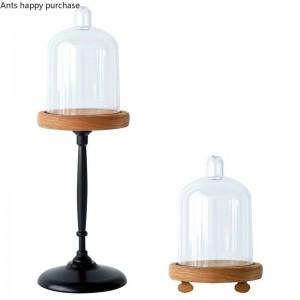 Kreative europäischen Stil Retro Mini Tortenständer Snack-Ständer Cup Cake Display-Ständer Holzsockel Transparent Staubschutz Dekoration