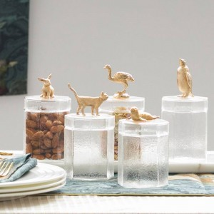 Kreative Glas niedlichen Metall Tier Flaschenverschluss Dekoration Aufbewahrungsbox Süßigkeiten Glas Kaffeebohne transparenten Vorratsbehälter Flaschen