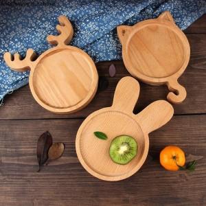Kreative schöne japanische Stil Holz Tablett Kinder Teller Kuchen Brot Dessert Obstsalat Platte Kinder Keramik Urlaub Platte