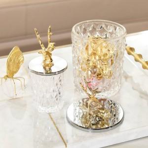 Kreative metall pralinenschachtel glas hirschkopf Vorratsflasche Candy jar glassware große lagertank kristall Can's Geschenk dekoration