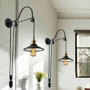 Kreativer einziehbarer pully Wand beleuchtet schwarzen Metalllampenschirm mit industriellen Wandleuchtern des Spiegels für Restaurantcafé-Barschlafzimmer
