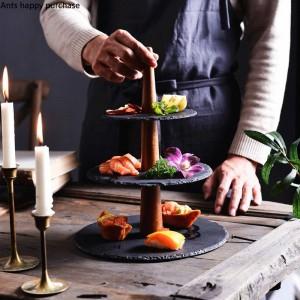 Kreative Rock Dessert Tisch Tortenständer Doppelschicht Obsttablett Hochzeit Geburtstag Party Dessert Tablett Küche Lagerung Dekorationen