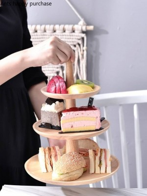 Kreative Holz Dessert Tisch Tortenständer Display Obsttablett Hochzeit Geburtstagsfeier Küche Lagerung Hauptdekorationen