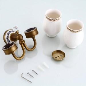 Becherhalter & Becherhalter Crystal Antique Brass Material Wandmontage Badezimmer Zubehör Doppel-Becherhalter 9214K