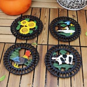 Dekorative Gusseisen Untersetzer für Küche oder Esstisch | Rund mit Tiermuster | Hot Pads für Töpfe & Pfannen | Hitzebeständig