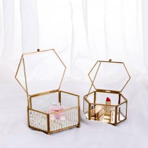 Dekorative Aufbewahrungsbox Sechseckige Glas Geometrische Schmuckschatulle Spiegel Schmuck Ewige Blumendekoration Box Handwerk