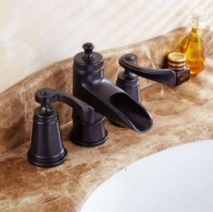 Doppelgriff quadratischen Bad schwarz Wasserhahn Mischbatterie Hahn drei Loch uns Waschtischmischer heißes und kaltes Wasser Wasserhahn waschen XR8216