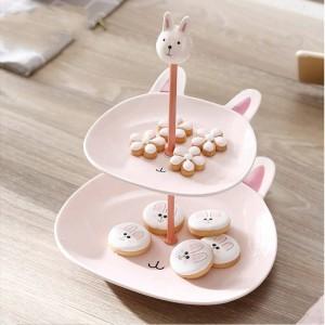 Doppelschicht Keramik Obstschale Obst Regal kreative mehrschichtige Dessert Tischdekoration Dekoration Geschirr Dessert Kuchen