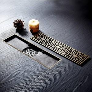 Ablauf 10 * 30 CM Euro Antike Messing Kunst Geschnitzte Bodenablauf Abdeckung Dusche Abfall Abtropffläche Bad Bad Zubehör Sieb DL8030