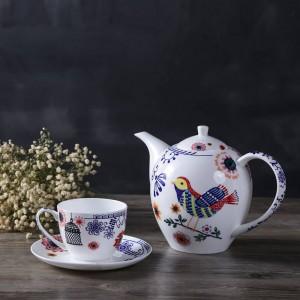 Englisch Nachmittagstee-Set Knochen Europäische Untertasse Teekanne Obstteller Doppeldeck Schwarztee Kaffee und Untertasse.