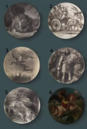 Eugene Delacroix, der dekorative Platten-keramische künstlerische Teller-Hotel-Hintergrund-Anzeigen-stürmische Boots-Malplatte malt
