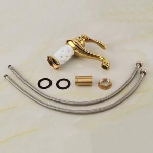 Euro Style Messing Material Vergoldete weiße Keramik mit Diamant-Waschtisch-Mischbatterien Deck montiert Waschbecken Wasserhahn XT602