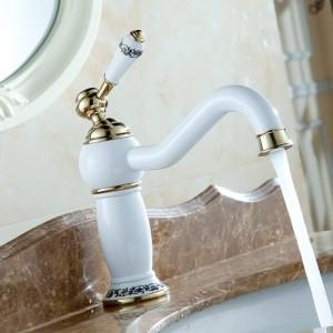 Europa Stil Luxus Pastoralen Becken Mischbatterien Keramik Gegrillte Weiße Farbe Kupfer Vergoldete Armaturen Bad Eitelkeiten 7601DK