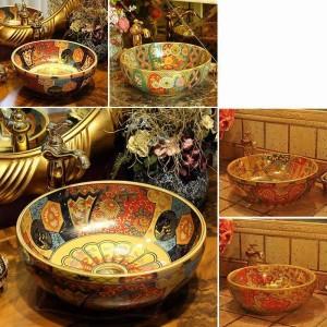 Europa-Weinlese-Art-keramisches Waschbecken-Badezimmer-Gegenoberseiten-Badezimmer-Wannenhandwaschbecken-Antike rund