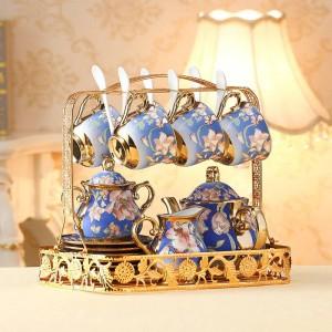 Europäische Keramik Tee Tasse und Untertasse Set Elfenbein Gold Knochen Kaffeetassen Set Topf Creamer Zuckerdose Teatime Teekanne Becher