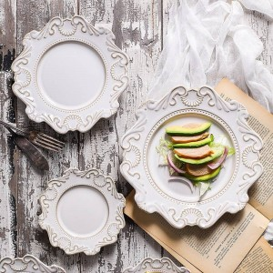 European Court Style Vintage Geprägte Keramik Geschirr Home Tisch Teller Schüssel Suppenschüssel Dessertteller