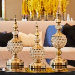 Europäische Kristallglas Candy Jar Wohnzimmer Dekoration Ornamente kleine Zuckerdose Metall mit Deckel getrockneten Obstteller Geschenk Dosen