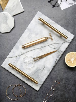 Europäische Gold Griff Marmor Tablett Ablage Aufbewahrungstablett Dessertteller Sushi Teller Natur