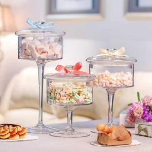 Europäischen hochwertigen Glas Bonbonglas Klarsichtdeckel Vorratsflasche staubdicht Glas Kuchen Dessertteller Hochzeitsdekoration