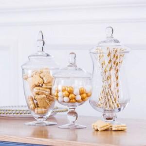 Europäische hohe qualität Candy jar künstliche mundgeblasene glasflasche hotel hochzeit dessert tischdekoration snack keks lagertank