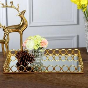 Europäische Modell Zimmer Hotel Villa High-End-Desktop weiche Dekoration Spiegel Metallschale Dekoration High-End-Luxus