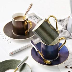 Musterkaffeetasse der europäischen Art des sternenklaren Himmels stellte keramische Teetasse Nachmittagsteetellerlöffel mit Haushaltsgeschenken ein