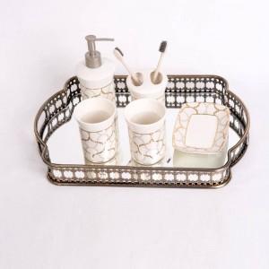 Europäischen stil Schmiedeeisen Überzogene Glasablage Spiegelboden Tablett Wohnzimmer Licht Luxus Platte Dekoration Obstteller