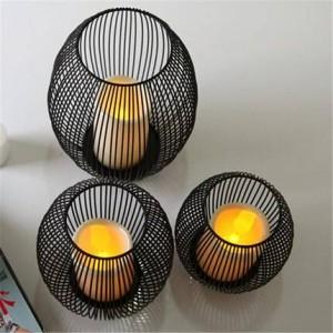 Europäischen schmiedeeisernen Kerzenhalter führte Candlelight Dinner Requisiten Handwerk Ornamente Ornamente Mittelmeer Vogelkäfig Windlampe