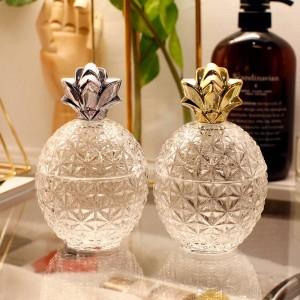 Exquisite geprägte Kristallglas Überzogene goldene Ananas Bonbonglas Schmuck Aufbewahrungsfenster Dekoration Kaffeegeschirr Zuckerdose
