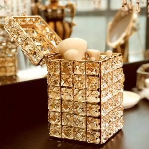 Mode Goldene Kristall Schminktisch Make-Up Pinsel Veranstalter Stifthalter Mit Deckel Augenbrauenstift Platz Aufbewahrungsbox Halter