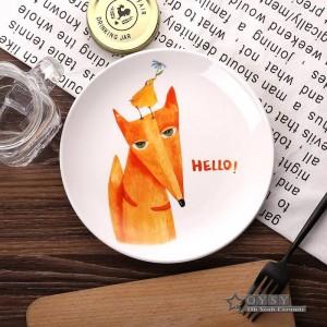 Mode-Stil 8 * Zoll Durchmesser Knochen Keramik flache Platten Cartoon Muster Porzellan Geschirr Salat Sushi Kuchen Gericht