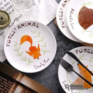 Mode-Stil 8 * Zoll Durchmesser Knochen Keramik Reisgerichte Cartoon Muster Porzellan Geschirr Salat Sushi Kuchen Gericht