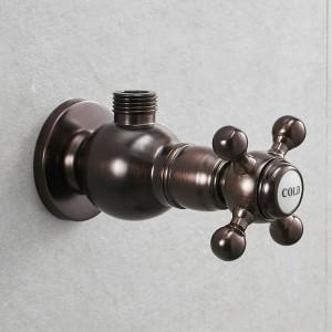 """Wasserhahn Ersatzteile 1/2 """"x 1/2"""" Luxus Schwarz Messing Bad Eckventil Wasserstopp Toilettenfüllung Dreieck Ventile 811625"""