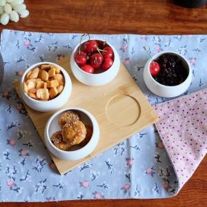 Fünfteiliges Set Obstteller Serviertabletts Kreative Keramikschalen für Snacks / Nüsse / Desserts Öko-Naturbambustablett