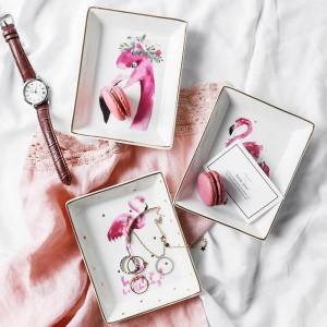 Flamingo Muster Keramik Aufbewahrungsplatte INS minimalistischen Dessert Schmuck Kleinigkeiten Container Dekor Schreibtisch Aufbewahrungsbox für Zuhause