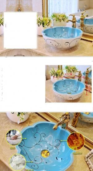 Blumenform europäischen Stil antike Waschbecken Waschbecken Badezimmer Handbemalte Waschbecken Keramik dekorative Waschbecken