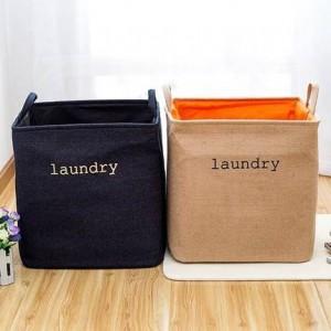 Das Falten der Wäschekorb-Kleidungsspielwaren des großen Denimbaumwollleinenbehälters setzte schmutzigen Kleidungskasten-Ablagekorb