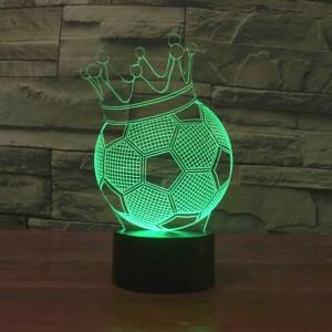 Nachtlichter der Fußball-Kronen-3D LED kreative 7 Farben, die Feiertagsdeko USB-Illusionslampe ändern Acrylkindernachttischlampe