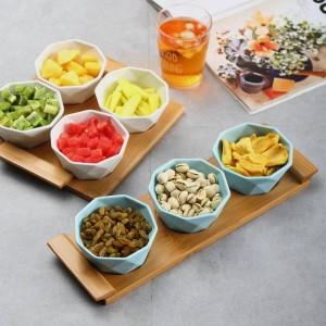 Vier- / fünfteiliges Set Obstteller Serviertabletts Kreative Keramikschalen für Snacks / Nüsse / Desserts Öko-Naturbambustablett