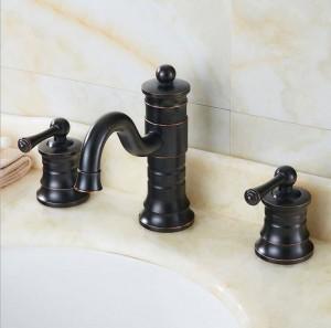 3 stücke Antike Messing Deck Montiert Bad Mischbatterie Waschbecken Waschtischarmatur Wasserhahn Badarmaturen XR8232