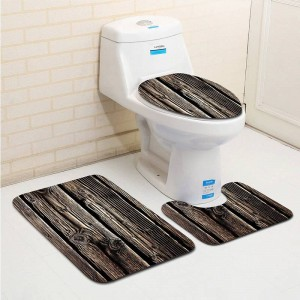 3 stücke classc banyo holzmaserung bad carpet wc u typ badematte set rutschfeste tapis salle de bain alfombra bano
