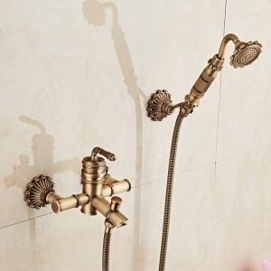 Bambus Dusche Wasserhahn Mischbatterie Antik Bronze Messing Bad Dusche Wasserhahn Set Badewanne Wasserhahn Torneira Bath XT333