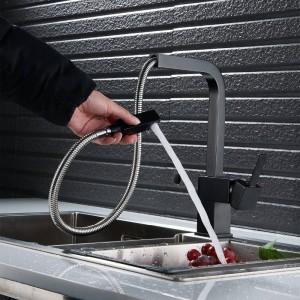 küchenarmatur schwarz / nickel küchenarmatur warm und kalt waschbecken drehbar waschbecken wasserhahn lad-135