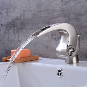 Nickelbadezimmerwasserfallhahn Kran Nicke Badezimmerbassin Hahn-Badezimmerbassin-Mischer-Hahn mit heißem und kaltem LAD-4