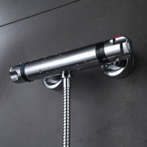 Duscharmatur Set Bad Thermostat Wasserhahn Chrom-Finish Mischbatterie W / ABS Handbrause Wandmontage XT328