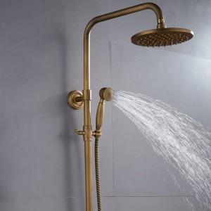 Duscharmaturen Antique Brass Finish Badezimmer Niederschlag mit Spray Dusche Durable Brass Wasserhahn Set XT304