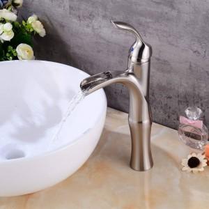 Wasserfall Nickel gebürstet Bad Wasserhahn Hohe Nickel Waschtischarmatur gebürstet Wasserfall Waschtischarmatur Spüle Mixer LAD-404