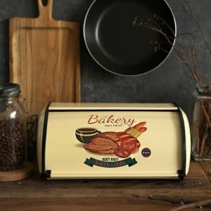 Französische Vintage Brot Box Lagerplatz Rollup Top hellgrau kleine Pulver beschichtetes Brot Eisen Snack-Boxen für Küche Home Decor