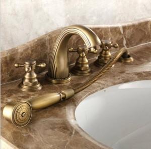 Vollkupfer heiß und kalt Bad Wasserhahn fünfteiligen europäischen Stil Bronze Bad Seite Split fünfteiligen Duscharmatur XR7034