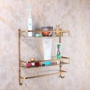 Volle Kupfer Wandhalterung Kupfer 2 Schichten Ablagekorb Duschbad Bad Handtuchhalter Seifenschale Shampoo Rack Badezimmer Regale